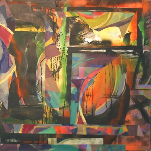 """Window"" - 24""x24"" collage on canvas"